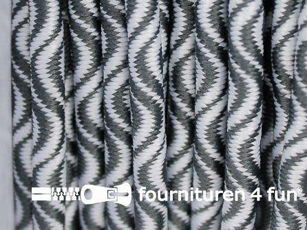 Elastisch koord 3mm grijs - wit golfjes