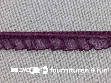 Elastisch ruche band 15mm aubergine