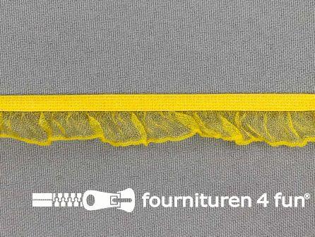 Elastisch ruche band 15mm geel
