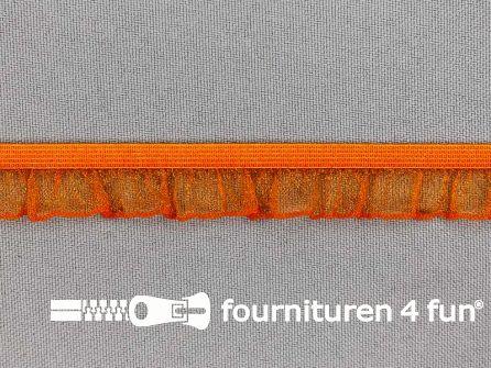 Elastisch ruche band 15mm oranje