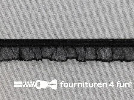 Elastisch ruche band 15mm zwart