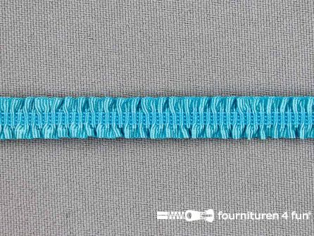 Elastisch ruche band 9mm aqua blauw