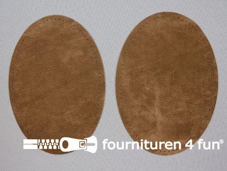 Elleboogstukken / kniestukken suèdine 140x100mm tabaks bruin