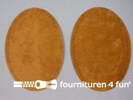 Elleboogstukken / kniestukken suèdine 140x100mm caramel