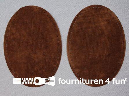 Elleboogstukken / kniestukken suèdine 140x100mm bruin