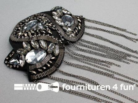 Steampunk schouder epaulet 115x85mm zwart zilver