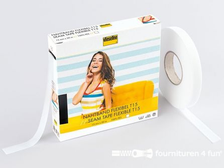 Vlieseline® Flexibel naadband T15 wit 50 meter rol
