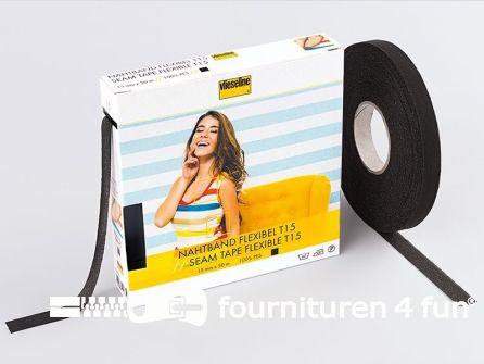 Vlieseline® Flexibel naadband T15 zwart 50 meter rol
