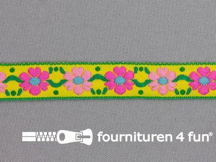Folklore band 15mm geel - roze - groen