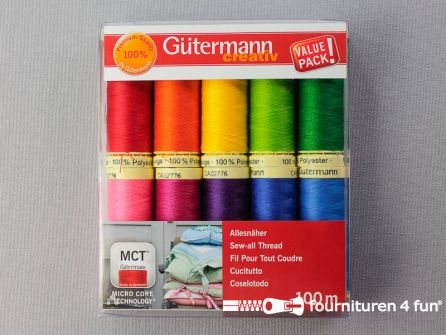 Gütermann Allesnaaigarenset - regenboog kleuren - 10x100 meter