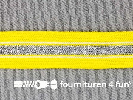 Gestreept band lurex 24mm geel - zilver
