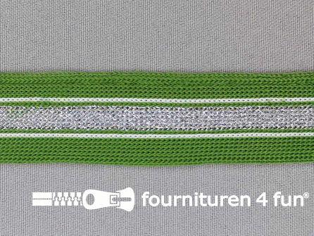 Gestreept band lurex 24mm leger groen - zilver