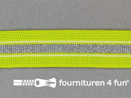 Gestreept band lurex 24mm lime groen - zilver