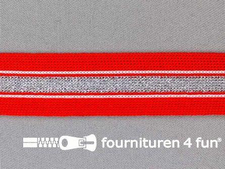 Gestreept band lurex 24mm rood - zilver