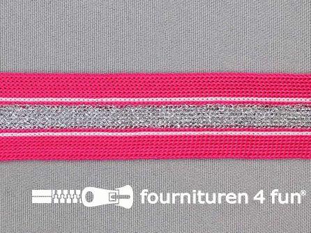 Gestreept band lurex 24mm fuchsia - zilver