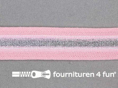 Gestreept band lurex 24mm roze - zilver