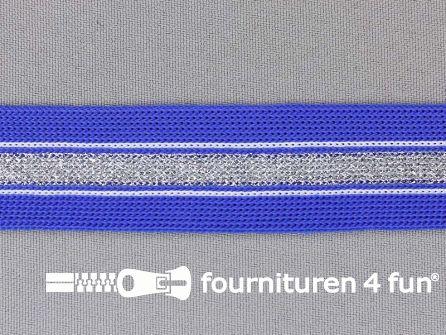Gestreept band lurex 24mm kobalt blauw - zilver