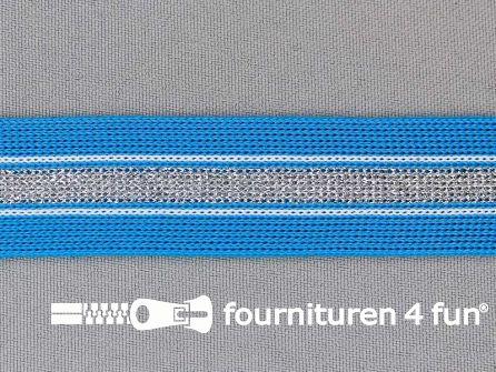 Gestreept band lurex 24mm aqua blauw - zilver