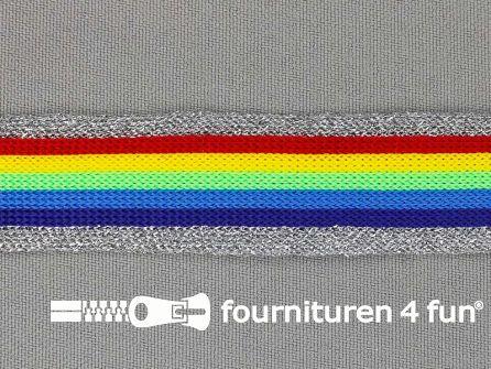 Gestreept band lurex 24mm regenboog - zilver