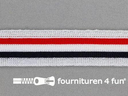 Gestreept band lurex 24mm rood - wit - zwart - zilver