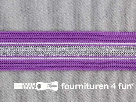 Gestreept band lurex 24mm paars- zilver