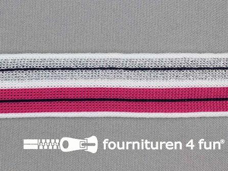 Gestreept band lurex 24mm wit - roze - zilver - zwart