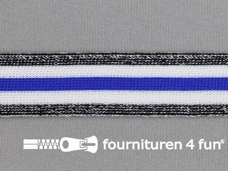 Gestreept band lurex 24mm zwart - wit - blauw