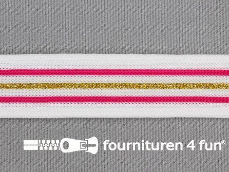 Gestreept band lurex 24mm wit - roze - goud