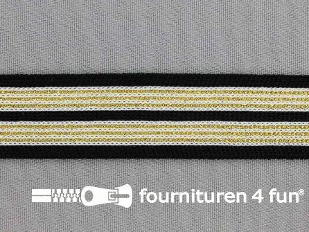 Gestreept band lurex 24mm zwart - goud - wit
