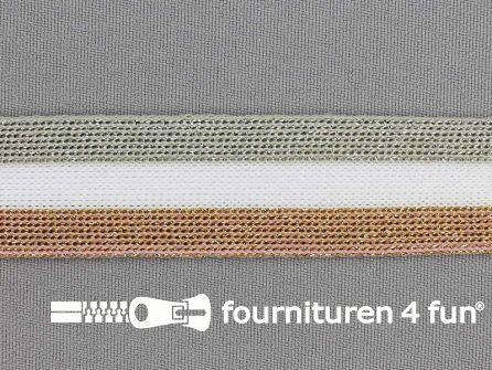 Gestreept band lurex 24mm brons - wit - zilver