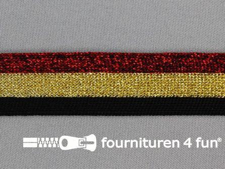 Gestreept band lurex 24mm rood - goud - zwart