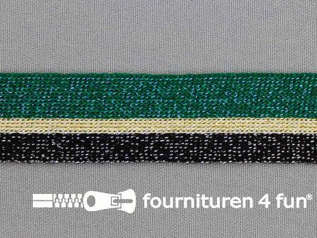 Gestreept band lurex 24mm zwart - goud - groen