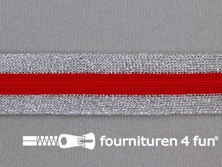 Gestreept band lurex 24mm zilver - rood