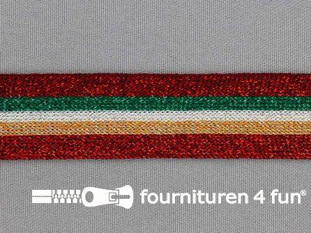 Gestreept band lurex 24mm rood - goud - wit - groen
