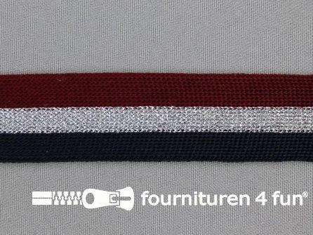 Gestreept band lurex 24mm rood - zilver - zwart