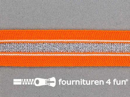 Gestreept band lurex 24mm oranje - zilver