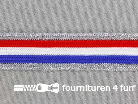 Gestreept band lurex 24mm rood - wit - blauw - zilver