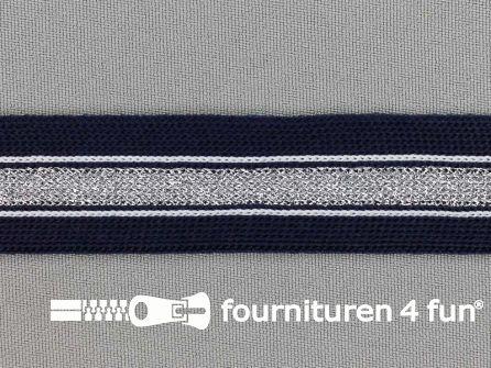 Gestreept band lurex 24mm marine blauw - zilver