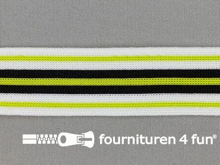 Gestreept band lycra 30mm zwart - wit - lime groen
