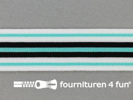 Gestreept band lycra 30mm zwart - wit - mint