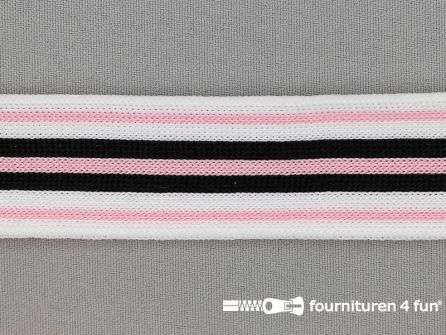 Gestreept band lycra 30mm zwart - wit - roze