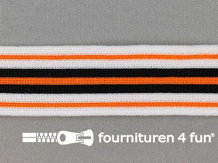 Gestreept band lycra 30mm zwart - wit - oranje
