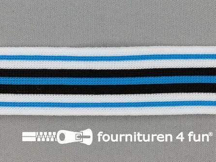 Gestreept band lycra 30mm zwart - wit - aqua blauw