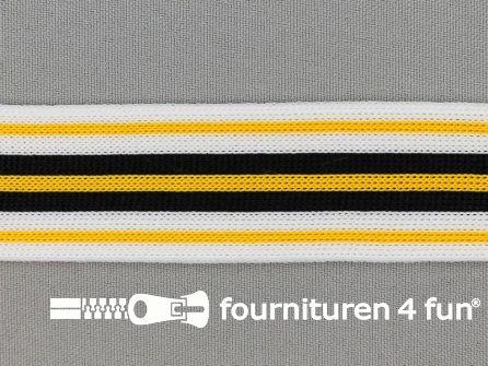 Gestreept band lycra 30mm zwart - wit - geel