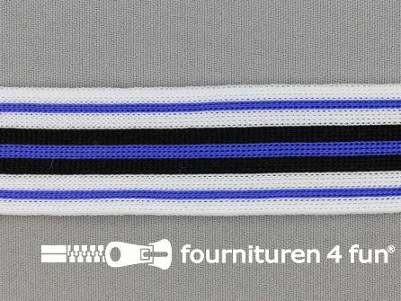 Gestreept band lycra 30mm zwart - wit - kobalt blauw