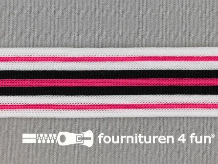 Gestreept band lycra 30mm zwart - wit - fuchsia