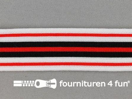 Gestreept band lycra 30mm zwart - wit - rood