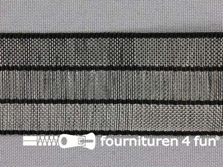 Gestreept nylon keperband 30mm zwart - grijs