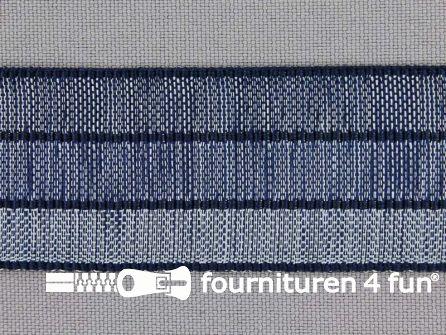 Gestreept nylon keperband 30mm blauw - marine