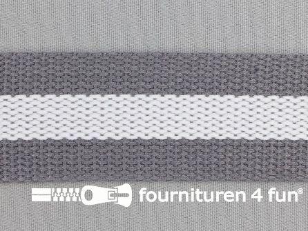 Gestreept tassenband 38mm grijs - wit